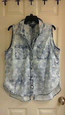 Rock & Republic, Women's size large, Camp Style Tank, Star Denim acid wash ()