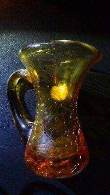 """Vintage Miniature Amber Crackle Glass Vase 'Rainbow' Huntington W Va. 3"""""""