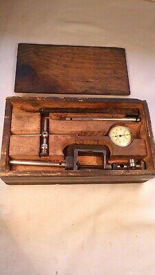 Vintage L.s. Starrett No.196 Dial Test Indicator Set Wwooden Case Inv823