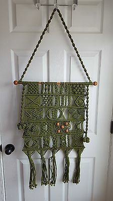 Olive Green Vintage Wood Bead Macrame Wall Hanging Home Decor Boho Art