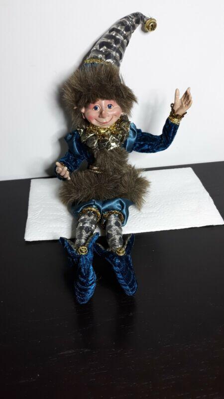 "Christmas Pixie Elf Jester Posable 16""Doll"