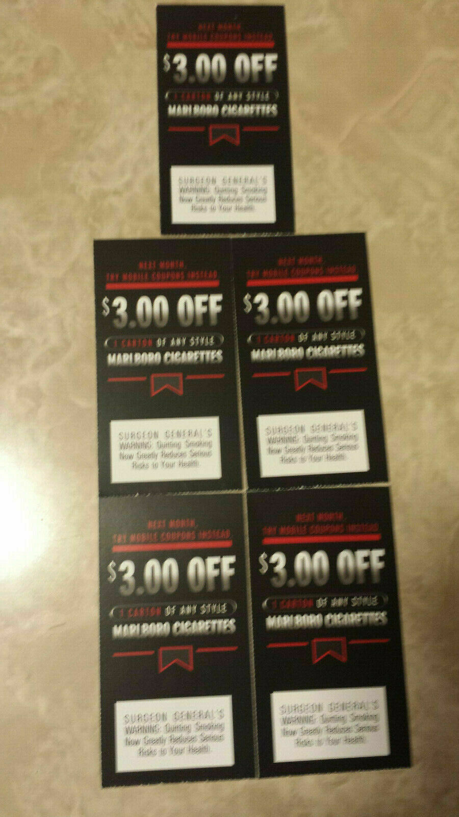 5 MARLBORO CIGARETTE COUPONS 3.00 OFF A CARTON ANY STYLE TOTAL 15.00 UNEXPIRED - $9.00