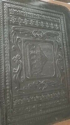 Vintage Embossed Leather Zippered Portfolio Lions Notebook 1216a
