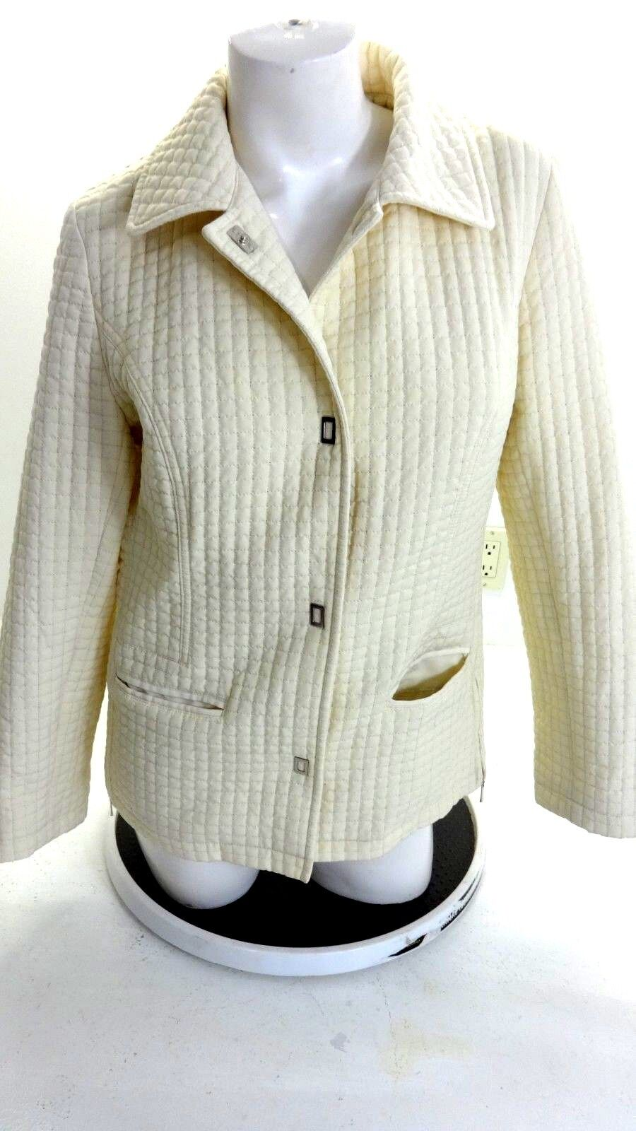 ab0c955fdd33 GALLERY WOMENS IVORY QUILTED JACKET SIZE S