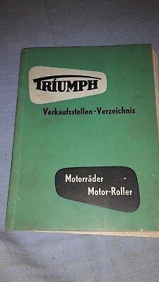 TRIUMPH VERKAUFSSTELLEN-VERZEICHNIS ,MOTORRÄDER, MOTOR-ROLLER VON 1954 GEBRAUCH
