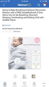 Baby breathing/ movement monitor and swaddle
