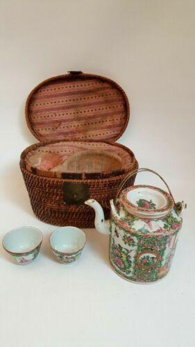VTG 1920s CHINESE IMPORT TEAPOT + 2 CUPS+BASKET CASE TEA SET