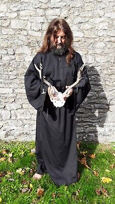 Druid robe, Wizard, Mage, Cleric, free size, black LARP, Pagan, ritual wear
