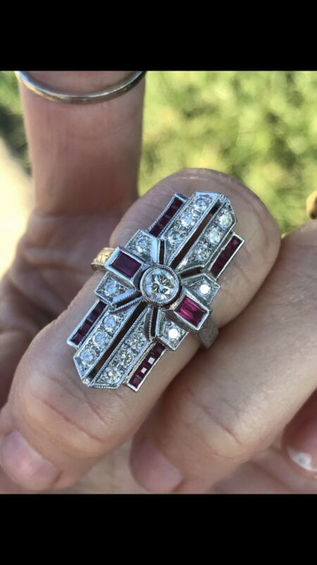 Heavy 18k White Gold Art Deco antique style FG VS diamond red Natural ruby ring