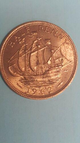 1962 GREAT BRITAIN HALF PENNY BU UNCIRCULATED COIN HIGH GRADE Ship Golden Hind