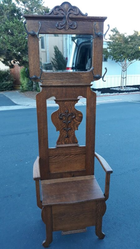 ANTIQUE TIGER OAK HALL TREE WITH SEATED BENCH AND ATTACHABLE UMBRELLA HOLDER
