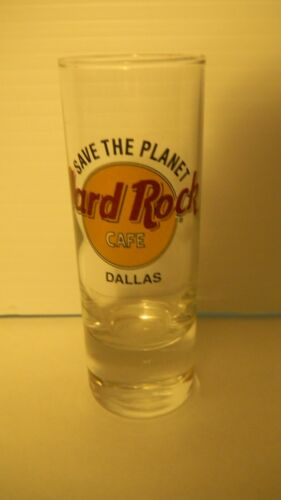 Hard Rock Cafe DALLAS Texas Tall Shot Glass SAVE the PLANET Black Double Circle