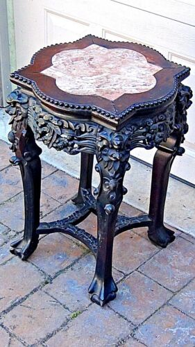 ANTIQUE 19c CHINESE ROSEWOOD URN 4 DRAGONS STAND W/MULTI-LOBED MARBLE INSET TOP
