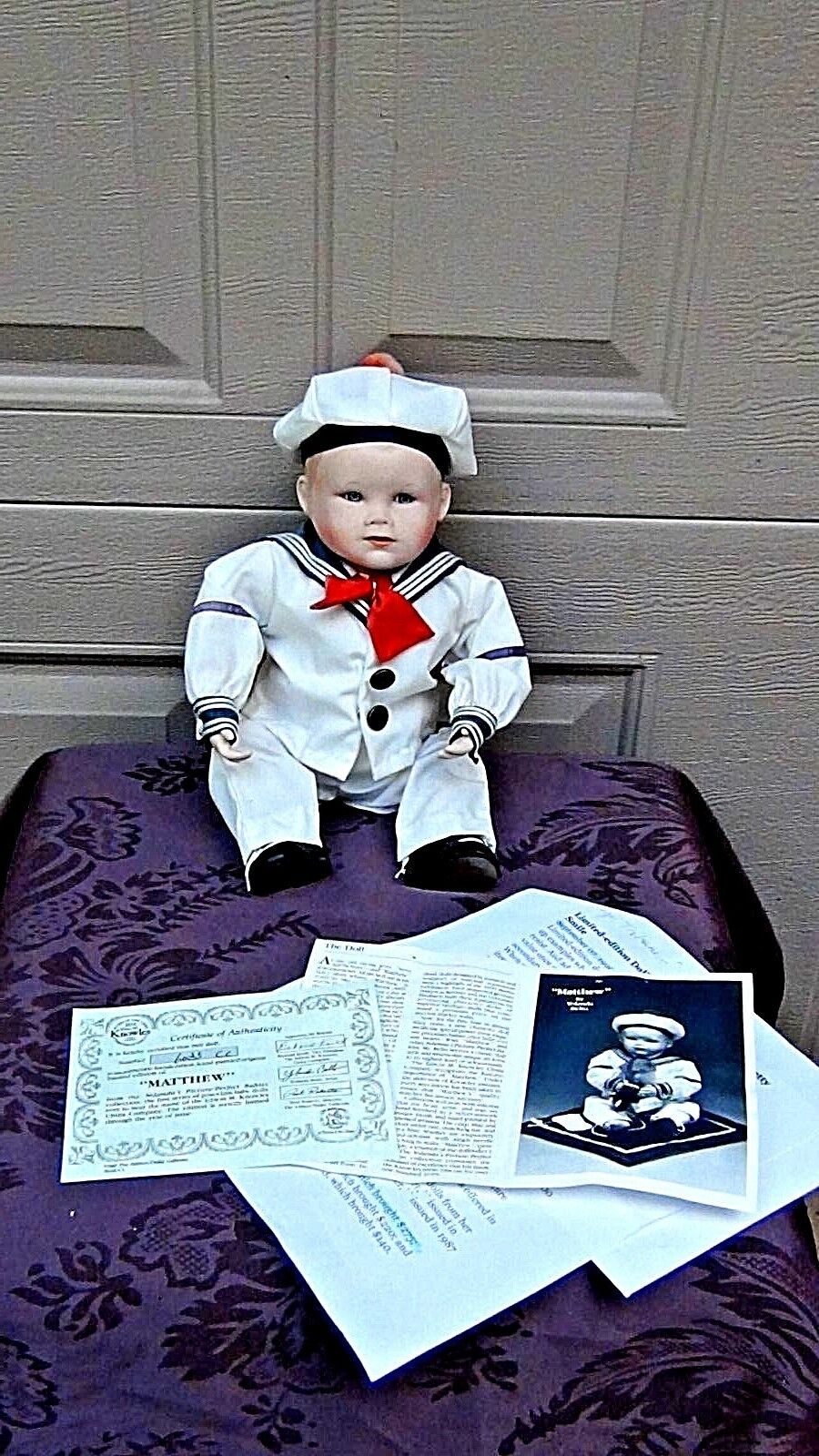 "PORCELAIN COLLECTABLE DOLL:MATTHEW"" SAIL BOY by YOLANDA BELLO C.O.A.&NUMBERED"
