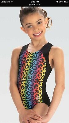 GK Stars leotard rainbow cat gymnastics Paw Print Child Large - Cat Leotard