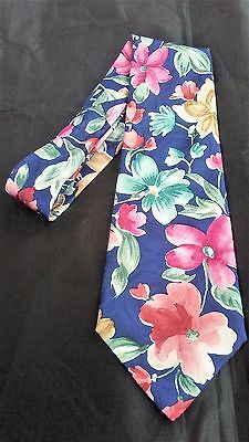 Mens Tie Manhattan Blue w/ Bright Flowers Floral Art Watercolor Florist Designer