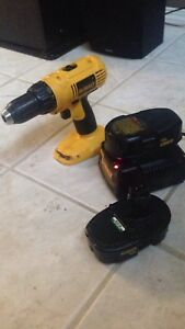 Cordless Dewalt drill, two batteries and the battery charger