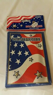Package of 8 Patriotic Party Invitations NEW Flag Stars Stripes