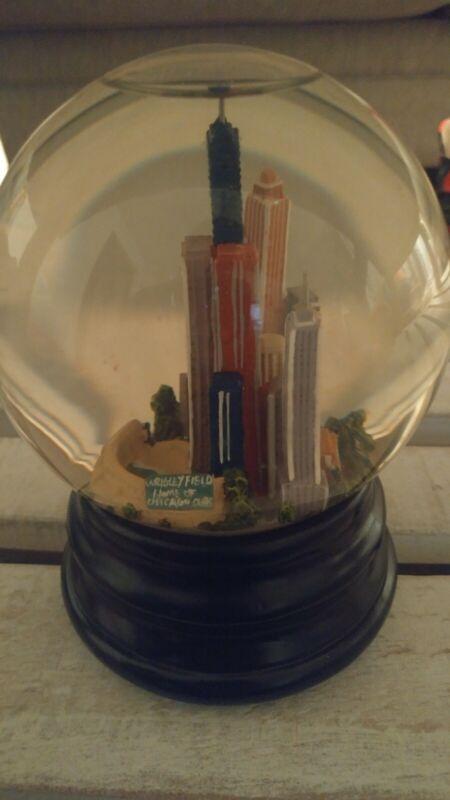 """Chicago skyline Wrigley Field Music Snow globe 6"""" Tall"""