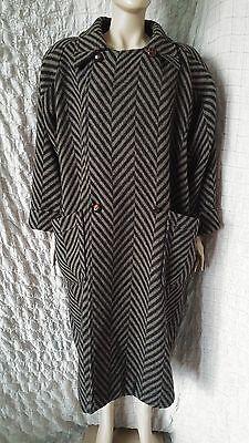 Ivan Grundahl linea S tweed woolen chevron khaki and black long coat size XL-XXL