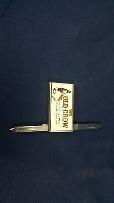 RARE Vintage Old Crow Bourbon Whiskey Pocket Knife 2-Blade w Money Clip Good