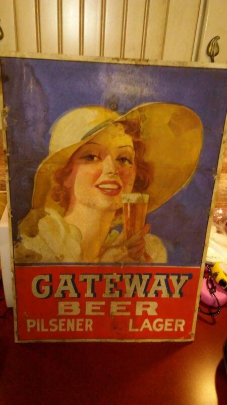 Antique Gateway Beer Sign Clinton Iowa Pre Prohibition