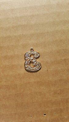 - 14kt Gold Solid Filigree 6 Diamonds Initial Monogram Name Letter E Pendant Charm