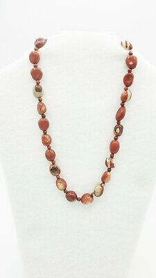 Genuine Red River Jasper Gemstone Necklace and Earrings