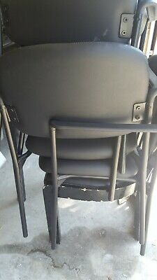 Lot 6 Stackable Side Reception Chair With Arms In Black Used
