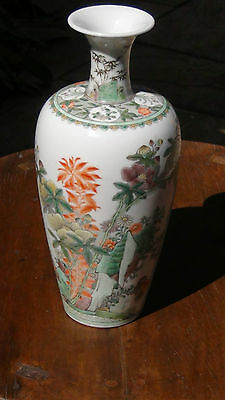 "ANTIQUE EARLY KANGXI PERIOD C.1680 CHINESE PORCELAIN  FAMILLE ROSE VASE 10""H  #1"