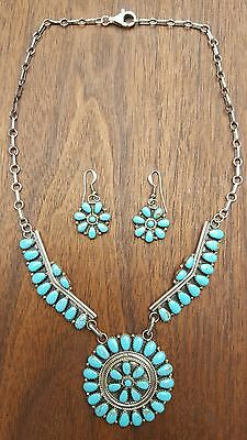 NAVAJO STERLING SILVER TURQUOISE NECKLACE & EARRING SET BY ROSANNA WILLIAMS
