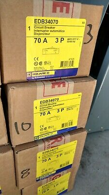 Square D Edb34070 3pole 70amp 480v Circuit Breaker New In Box 1 Year Warranty