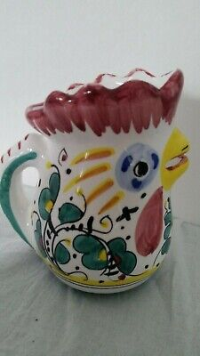 - Rooster Creamer Pitcher Made in Italy -- Ceramic -- Multi-Color--Collectible