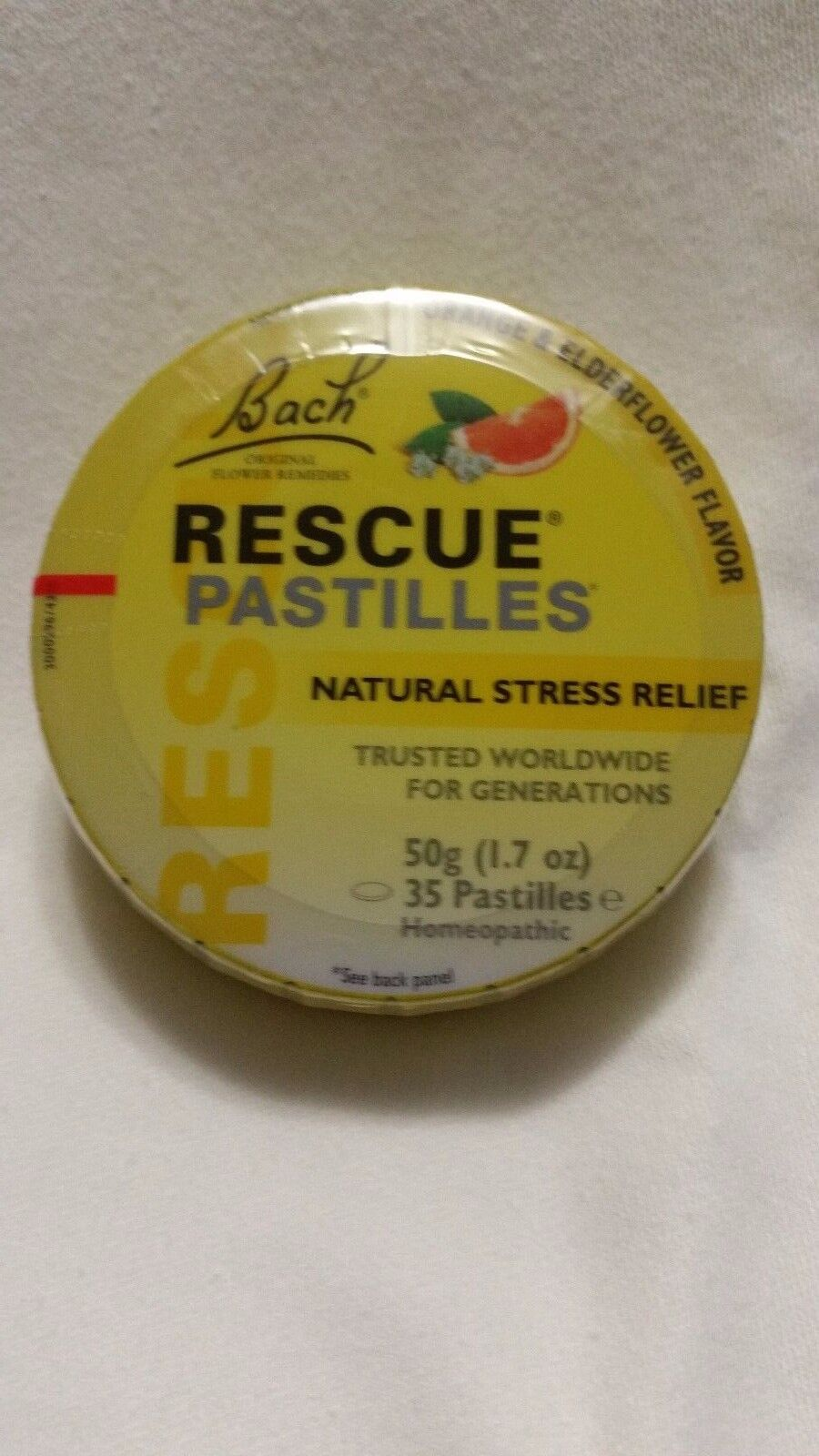 Bach Fleurs Rescue Stress Relief naturel orange et Elderflower 50 g
