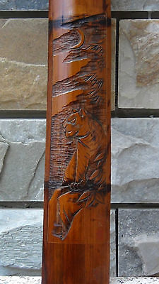 "ANTIQUE 19C CHINESE HAND CARVED BAMBOO WALL PLAQUE ""TIGER"",SIGNED BY ARTIST"