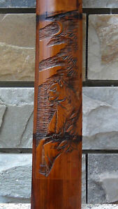 ANTIQUE 19C CHINESE HAND CARVED BAMBOO WALL PLAQUE