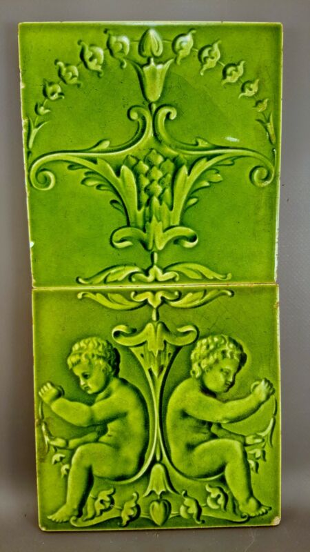 Antique Boote 2 Majolica Tile set 19th Embossed England M017