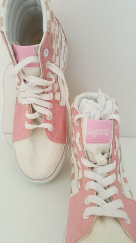 Vans Off The Wall Pink Check High Top Womens Skateboarding Shoes Sneakers 9.5
