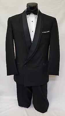 43 S Mens Black Double Breasted Tuxedo Cheap Formal Wedding Wool Bow Tie Set