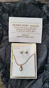 Jewellery set Pearl Earrings and Necklace ct 22ct Gold plated New Farm Brisbane North East Preview
