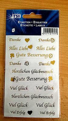 Mehrzweck  Etiketten  DANKE Alles Liebe  Gute Besserung Viel Glück 16 Stück  Neu
