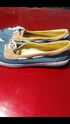 (Keds Women Shoe Teacup Boat Navy blue, white stripe ortholite flat )
