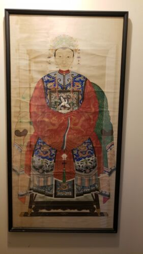 Large Chinese Antique ancestral watercolor painting of Qing Dynasty monarch Cixi