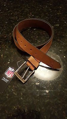 Dallas Cowboys Leather Mens Belt Embossed Tan Brown Size 28-46