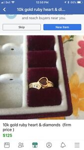 10k gold ruby & diamond ring( firm price)