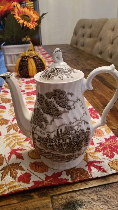 Vintage Royal Mail Staffordshire Ironstone England Coffee/Tea Pot w/Lid