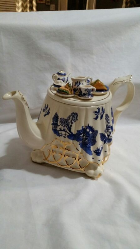 Vintage Paul Cardew Blue Teapot Made In England Ornate Tea Party