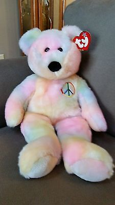 "TY LARGE 24"" PEACE Beanie Buddy TEDDY BEAR - MWMT"