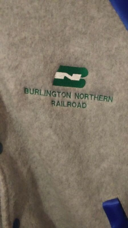 Burlington Northern Railroad Hartwell Grey And Blue Snap Jacket XL
