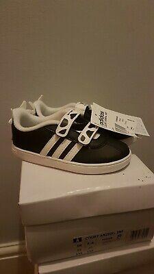Adidas Neo Court Animal Infant Size infant uk 8.5K Black White kids Damaged Box